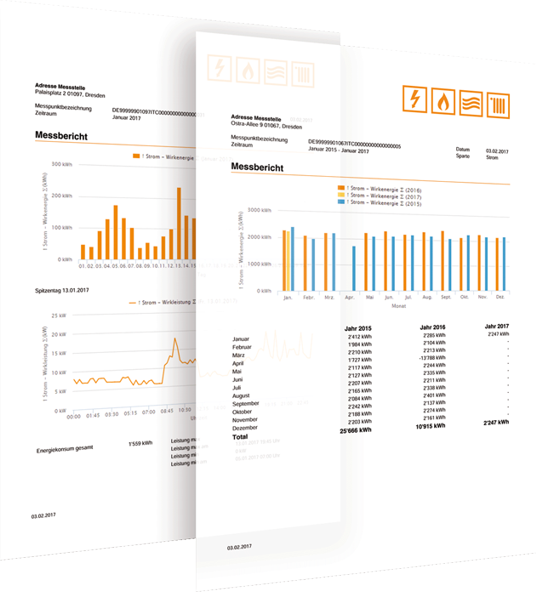 Energieberichte erzeugt die Energiemanagementsoftware automatisiert oder individuell.
